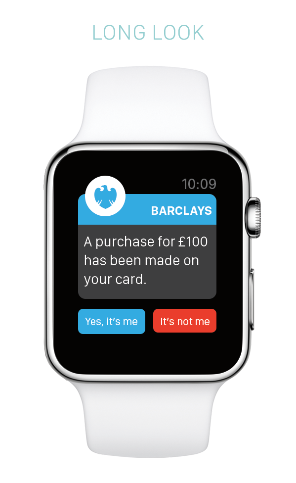 Barclays apple watch demo screen