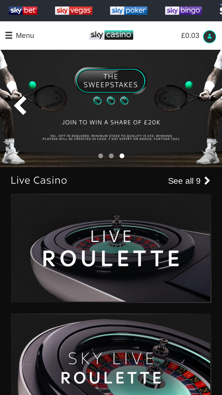 Sky Casino mobile site