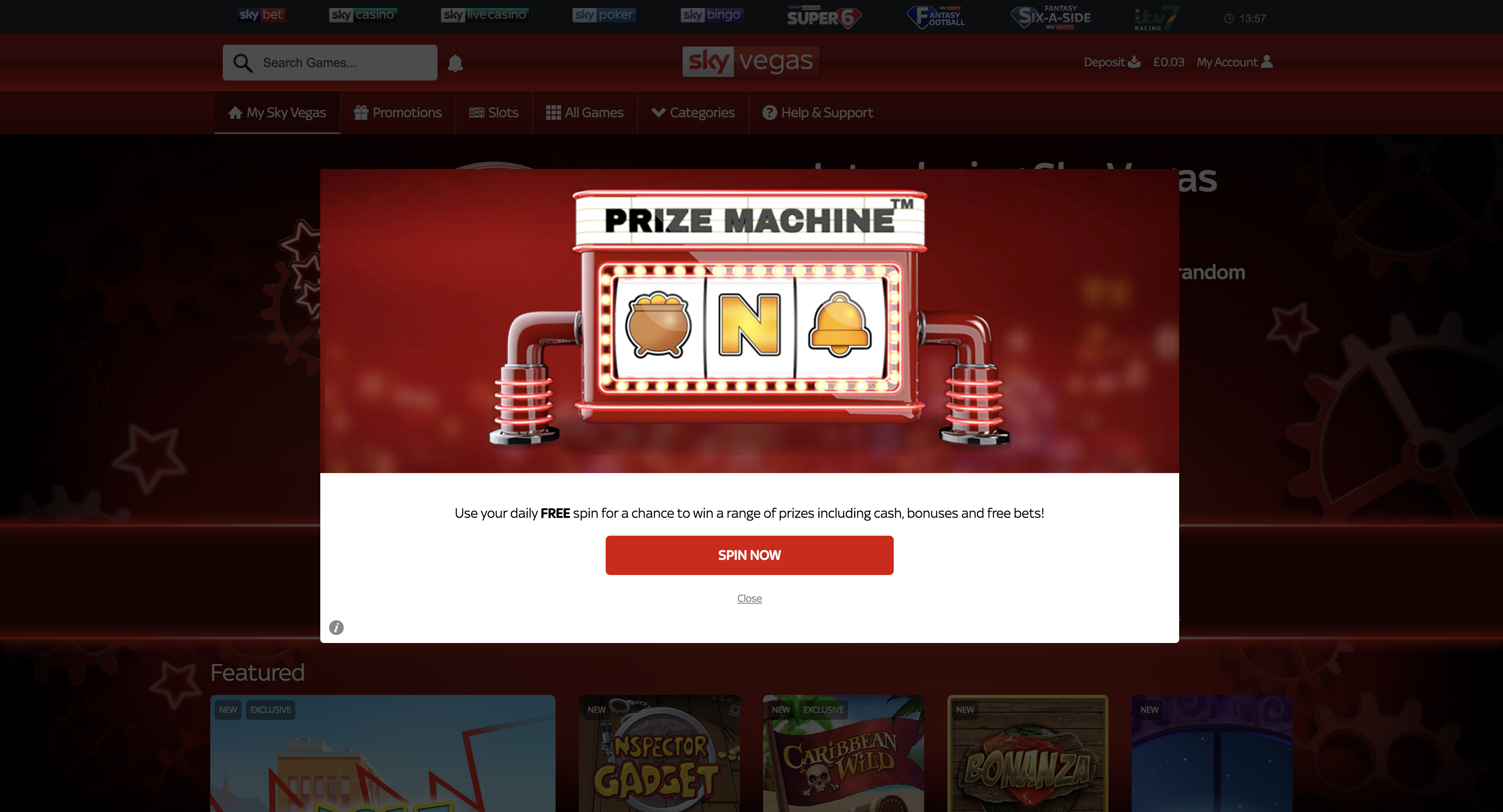 Sky Vegas prize machine